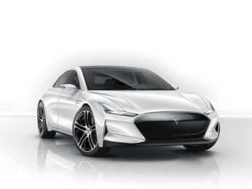 "Youxia Motors released a preview edition of an all-electric vehicle model ""Youxia X"" in July 2015, known for its resemblance with the Tesla Model S. (Image credit: Youxia Motors)"