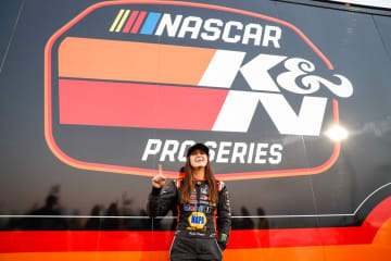 BAKERSFIELD, CA - OCTOBER 27: Hailie Deegan poses for a photo after winning the pole at Kern County Raceway Park on October 27, 2018 in Bakersfield, California. - Meg Oliphant/Getty Images North America/TNS