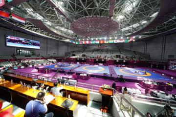 オリンピック出場をかけた壮絶な闘いが行われる西安電子科技大学体育館(昨年のアジア選手権より)=撮影・保高幸子