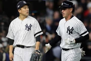 ヤンキース・田中将大と契約解除となったジャコビー・エルズベリー(左から)【写真:Getty Images】