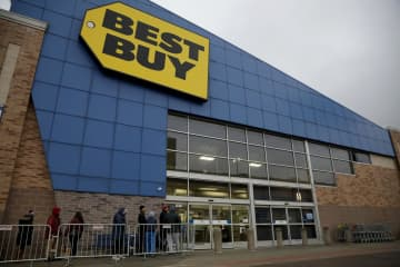Black Friday shoppers are lined up early Nov. 29, 2019, at the Best Buy store in the 2100 block of North Elston Avenue in Chicago, Ill. - Camille Fine/Chicago Tribune/TNS