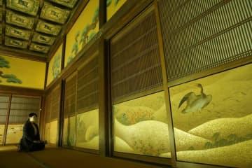 式台の間に入室しないと見ることができない花鳥図(京都市中京区・二条城)