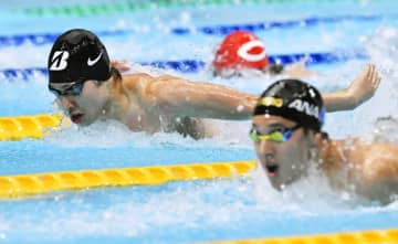 2019年11月の東京都オープン400メートル個人メドレーのレース。手前が優勝した瀬戸大也、奥が2位の萩野公介=東京辰巳国際水泳場