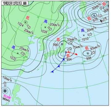 12月27日午前6時の実況天気図(気象庁ホームページより)