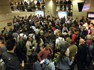NJ Transit commuters pack into Penn Station in New York City. (Larry Higgs/)