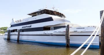 Seastreak's new Commodore ferry is seen at the Atlantic Highlands pier on May 21, 2018. A second Commodore class ferry is expected to enter service in 2021.
