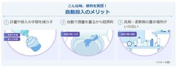 「洗剤自動投入」機能のメリット(東芝ライフスタイルのウェブサイトより)