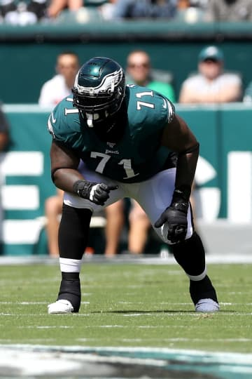 Jason Peters of the Philadelphia Eagles lines up against the Washington Redskins at Lincoln Financial Field on September 8, 2019, in Philadelphia. - Rob Carr/Getty Images North America/TNS