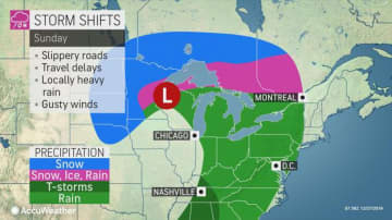 The New Jersey region is expected to get a heavy dose of rain from late Sunday through Monday afternoon, adding to December's already high precipitation totals. (AccuWeather/)