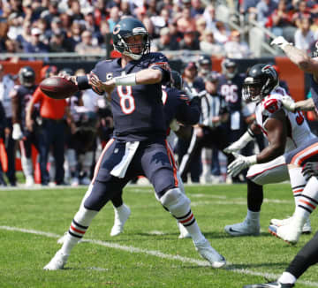 Chicago Bears quarterback Mike Glennon (8) gets ready for a pass during the first half against the Atlanta Falcons on Sunday, Sept., 10, 2017 at Soldier Field in Chicago, Ill. - Nuccio DiNuzzo/Chicago Tribune/TNS