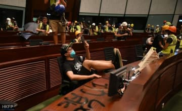 Protesters occupy the chamber of the Legislative Council on July 1. Photo: Thammakhun John Crowcroft/HKFP.