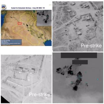 米軍が報復措置として行ったイスラム教シーア派武装組織への攻撃。左上から攻撃地点、事前の航空写真2点、攻撃の様子(右下)=29日、アル・カーイム(米国防総省提供、ロイター=共同)