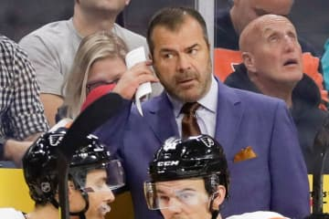 Philadelphia Flyers head coach Alain Vigneault, here in a file image. The Flyers defeats Anaheim Ducks, 2-1, on Sunday, Dec. 29, 2019. - YONG KIM/The Philadelphia Inquirer/TNS