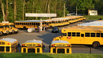 School buses parked side-by-side at a parking garage. The Minnesota Propane Association wants Minnesota Gov. Tim Walz's administration to consider liquid propane as an alternative to electric-powered school buses. - Heather Mcardle/Dreamstime/TNS