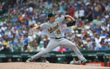Oakland Athletics pitcher Homer Bailey (15) throws against the Chicago Cubs in the first inning at Wrigley Field in Chicago on Wednesday, Aug. 7, 2019. The Cubs won, 10-1. - John J. Kim/Chicago Tribune/TNS