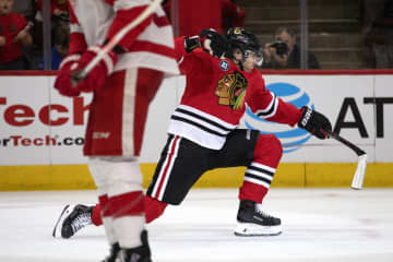 Blackhawks right wing Patrick Kane celebrates his breakaway goal during the third period against the Red Wings\u00a0at the United Center on Sunday, Feb. 10, 2019. The Blackhawks won 5-2. - Erin Hooley/Chicago Tribune/Chicago Tribune/TNS