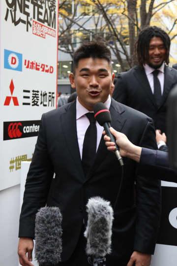 日本代表感謝パレードでのグ・ジウォン選手(2019年12月11日撮影)