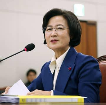 韓国の法相に任命された、与党「共に民主党」前代表の秋美愛氏=2019年12月、ソウル(聯合=共同)