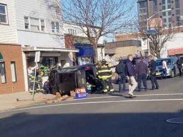 Authorities investigate a crash at Broadway and 44th Street in Bayonne on Thursday, Jan. 2, 2020. (Tony Campano photo) (Tony Campano /)