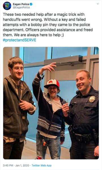 Jeff Jabas, of New Prague, and buddy Zak Wilhelm arrived at police headquarters Wednesday as an accidental tandem. Police officer Aaron Machtemes did the honors. - Eagan Police Department Twitter/TNS/TNS