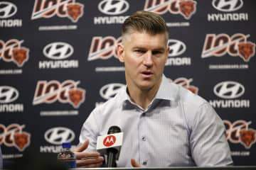 Bears general manager Ryan Pace speaks at a press conference at Halas Hall on Dec. 31, 2019. - Stacey Wescott / Chicago Tribune/Chicago Tribune/TNS