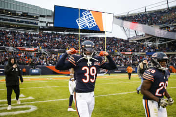 Bears safety Eddie Jackson celebrates a 20-13 win over the Lions at Soldier Field on Nov. 10, 2019. - Jose M. Osorio / Chicago Tribune/Chicago Tribune/TNS