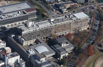 上空から見た岡山県庁。秋に予定される知事選で、4年間のかじ取り役が決まる