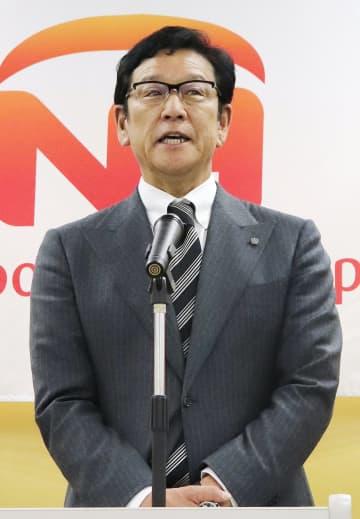 日本ハムグループの年頭式典であいさつする日本ハムの栗山監督=4日、東京都内