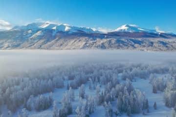 一面の銀世界にうっとり 雪化粧したカナス 新疆ウイグル自治区