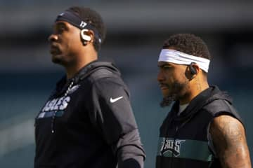 Philadelphia Eagles wide receivers Alshon Jeffery and DeSean Jackson prior to a game against the Chicago Bears at Lincoln Financial Field in Philadelphia on November 3, 2019. - Mitchell Leff/Getty Images North America/TNS