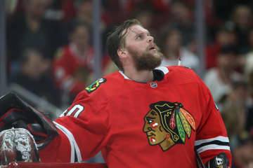 The Blackhawks may be without Robin Lehner for Sunday's game against the Red Wings. - John J. Kim / Chicago Tribune/Chicago Tribune/TNS