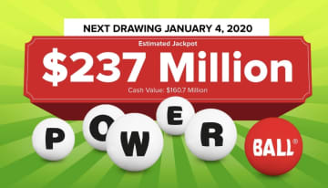 The Powerball lottery drawing for Saturday, Jan. 4, 2019 is worth an estimated $237 million. Check back later to see if anyone won the Powerball jackpot. (Powerball.com/)