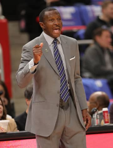 Detroit Pistons head coach Dwane Casey on the bench during second-period action against the Brooklyn Nets on Wednesday, Oct. 17, 2018, at Little Caesars Arena in Detroit. - Kirthmon F. Dozier/Detroit Free Press/TNS