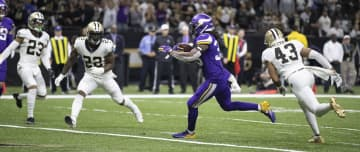 Minnesota Vikings running back Dalvin Cook (33) splits the New Orleans Saints defense for a second quarter touchdown on Sunday, Jan. 5, 2020 at Mercedes-Benz Superdome in New Orleans, La. - Jerry Holt/Minneapolis Star Tribune/TNS
