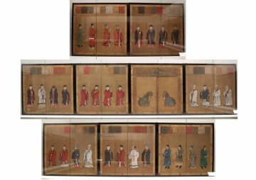 京都御所紫宸殿を彩った障壁画「賢聖障子」。原本9面が外部で展示されるのは初めて(京都市東山区・京都国立博物館)