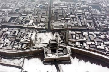 平遥古城が雪化粧 山西省
