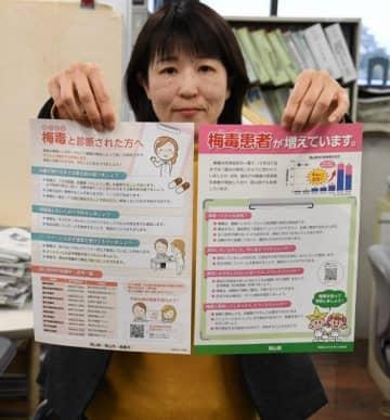 岡山県が作成した梅毒の予防や検査を呼び掛けるチラシ