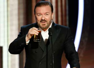 BEVERLY HILLS, CALIFORNIA - JANUARY 05: In this handout photo provided by NBCUniversal Media, LLC, host Ricky Gervais speaks onstage during the 77th Annual Golden Globe Awards at The Beverly Hilton Hotel on January 5, 2020