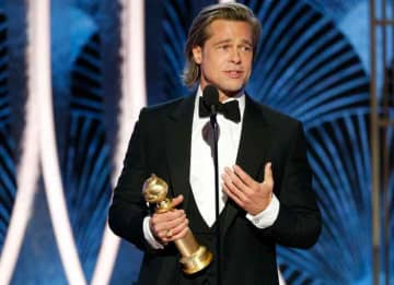 BEVERLY HILLS, CALIFORNIA - JANUARY 05: In this handout photo provided by NBCUniversal Media, LLC, Brad Pitt accepts the award for BEST PERFORMANCE BY AN ACTOR IN A SUPPORTING ROLE IN ANY MOTION PICTURE for