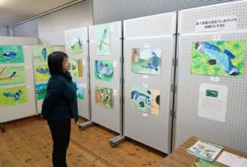 ブッポウソウを生き生きと描いた作品が並ぶ会場