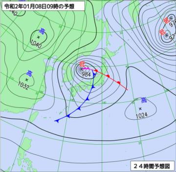 1月8日午前9時の天気図(気象庁ホームページより)