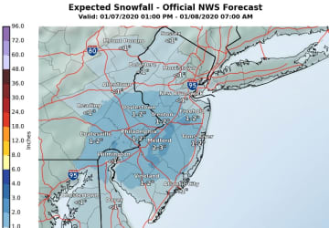 Latest snowfall projections from the National Weather Service, as of late Tuesday afternoon. (National Weather Service/)