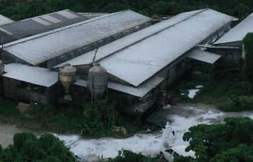 豚コレラ発生の疑いがある豚舎。感染防止用の白い粉がまかれていた=7日午後5時49分、本島中部(小型無人機で撮影)