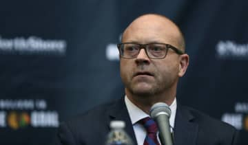 Chicago Blackhawks general manager Stan Bowman addresses reporters during a press conference to announce the hiring of head coach Jeremy Colliton at the MB Ice Arena on Tuesday, Nov. 6, 2018 in Chicago, Ill. - John J. Kim/Chicago Tribune/TNS
