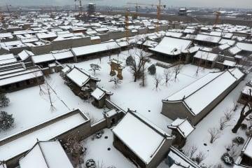 雪化粧した太原古県城 山西省太原市