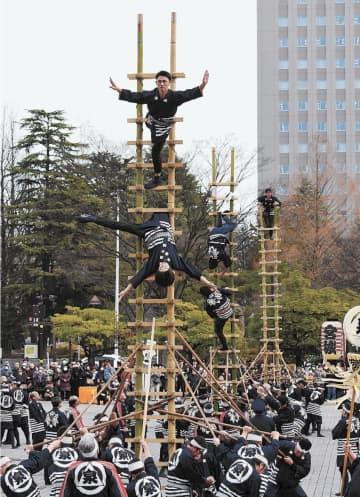 観客を沸かせた伝統のはしご乗りの妙技=7日午前11時20分ごろ、仙台市青葉区の勾当台公園市民広場