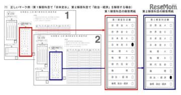 「地理歴史、公民」の正しいマーク例 (第1解答科目で「日本史B」、第2解答科目で「政治・経済」を解答する場合)