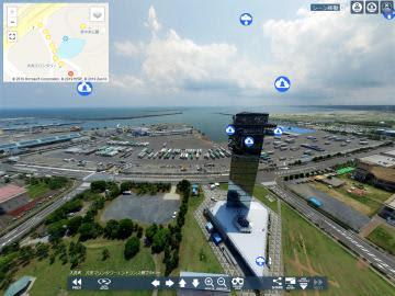 茨城VRツアーによる大洗マリンタワー(大洗町)のパノラマ写真。雲のマークを選択すれば、別のシーンなどを楽しめる