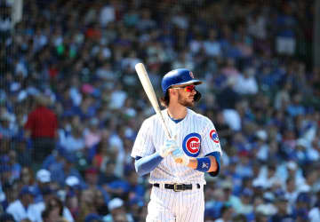 Cubs third baseman Kris Bryant bats in the seventh inning on Aug. 22, 2019 at Wrigley Field. - Brian Cassella/Chicago Tribune/TNS