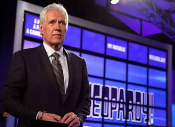 Alex Trebek Raps: YORKTOWN HEIGHTS, NY - JANUARY 13: Host of 'Jeopardy!' Alex Trebek attends a press conference to discuss the upcoming Man V. Machine 'Jeopardy!' competition at the IBM T.J. Watson Research Center on January 13, 2011 in...